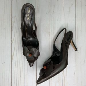 Kate Spade Brown Leather Slingback Heels w/ Flower
